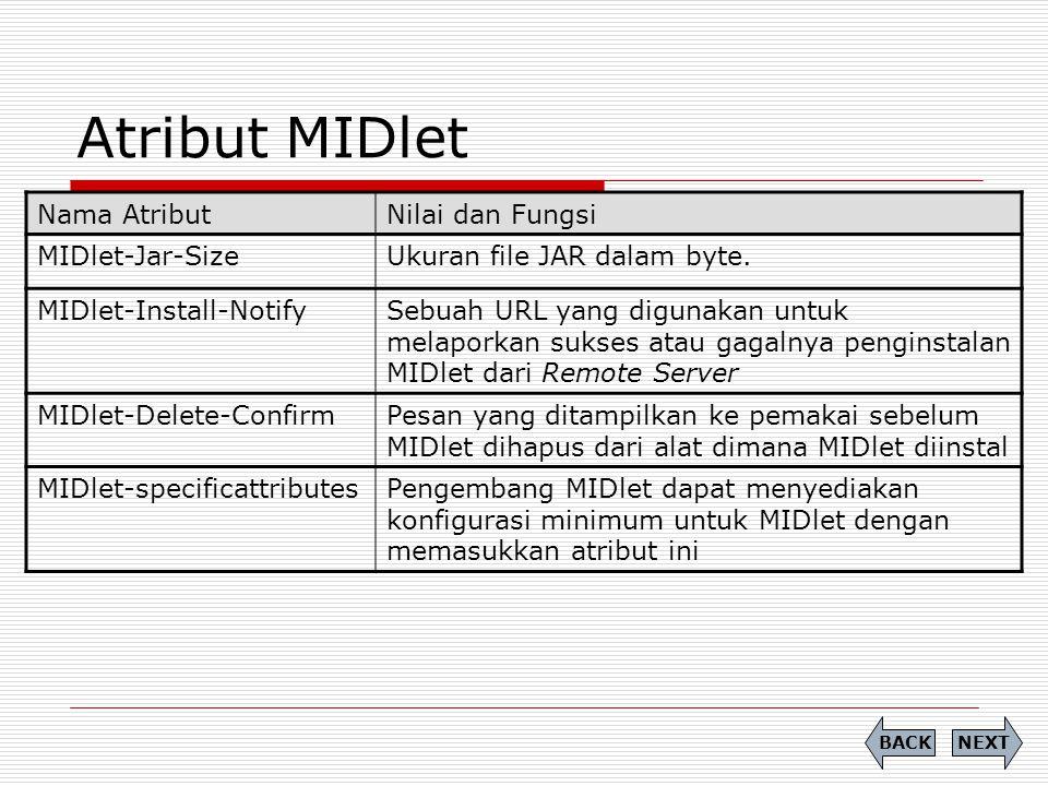 Atribut MIDlet Nama AtributNilai dan Fungsi MIDlet-Jar-SizeUkuran file JAR dalam byte. MIDlet-Install-NotifySebuah URL yang digunakan untuk melaporkan