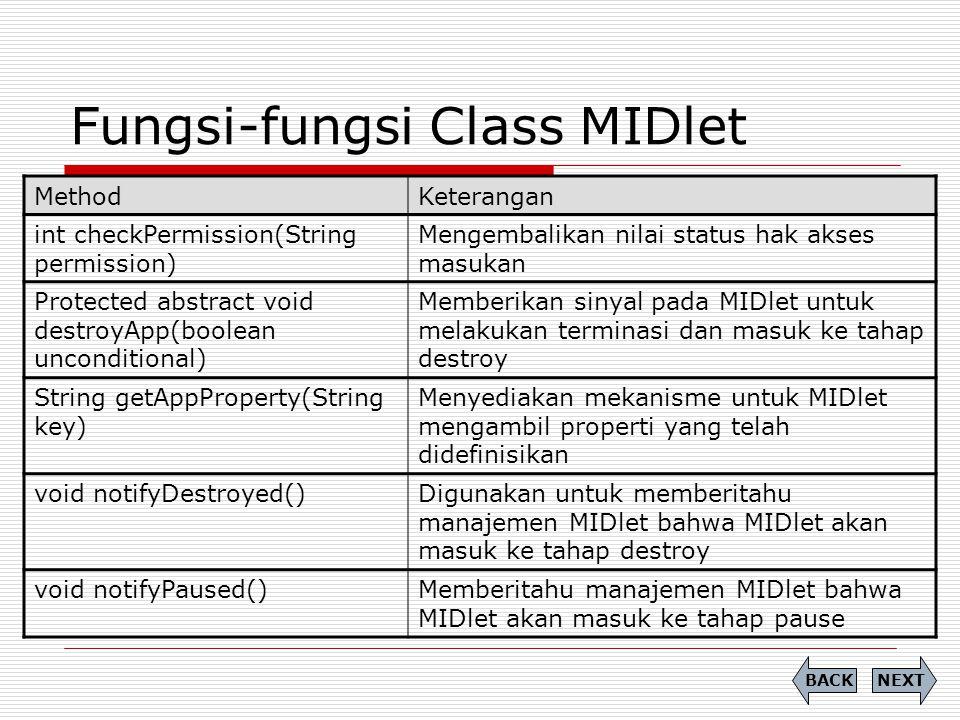 Fungsi-fungsi Class MIDlet MethodKeterangan int checkPermission(String permission) Mengembalikan nilai status hak akses masukan Protected abstract voi