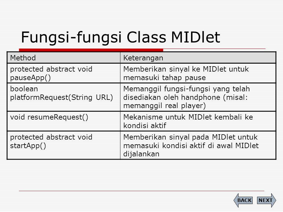 Fungsi-fungsi Class MIDlet MethodKeterangan protected abstract void pauseApp() Memberikan sinyal ke MIDlet untuk memasuki tahap pause boolean platform