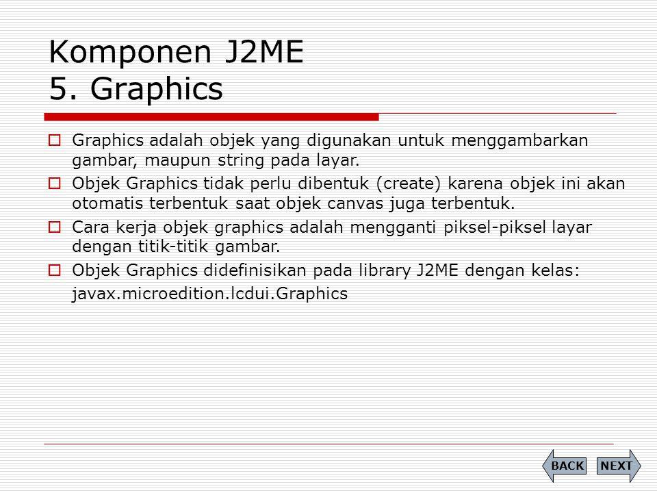 Komponen J2ME 5. Graphics  Graphics adalah objek yang digunakan untuk menggambarkan gambar, maupun string pada layar.  Objek Graphics tidak perlu di