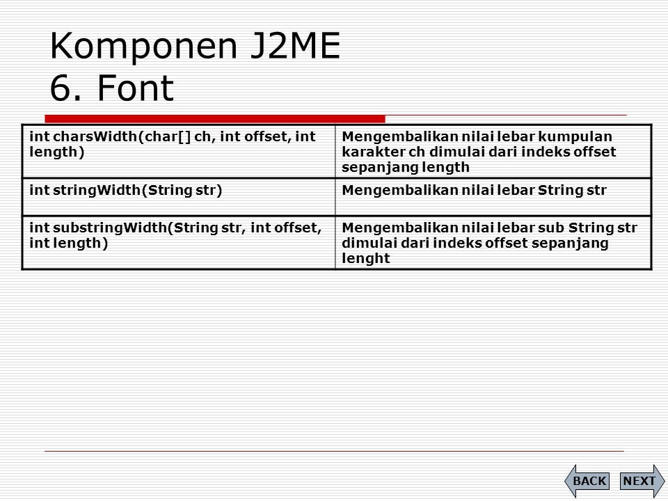 Komponen J2ME 6. Font int charsWidth(char[] ch, int offset, int length) Mengembalikan nilai lebar kumpulan karakter ch dimulai dari indeks offset sepa
