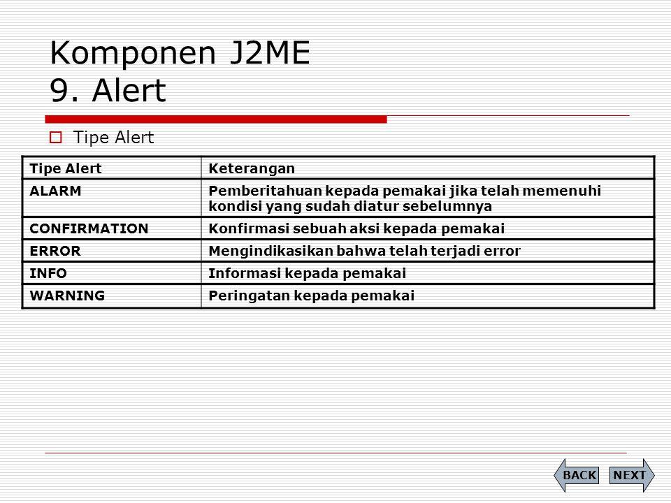 Komponen J2ME 9. Alert  Tipe Alert NEXTBACK Tipe AlertKeterangan ALARMPemberitahuan kepada pemakai jika telah memenuhi kondisi yang sudah diatur sebe