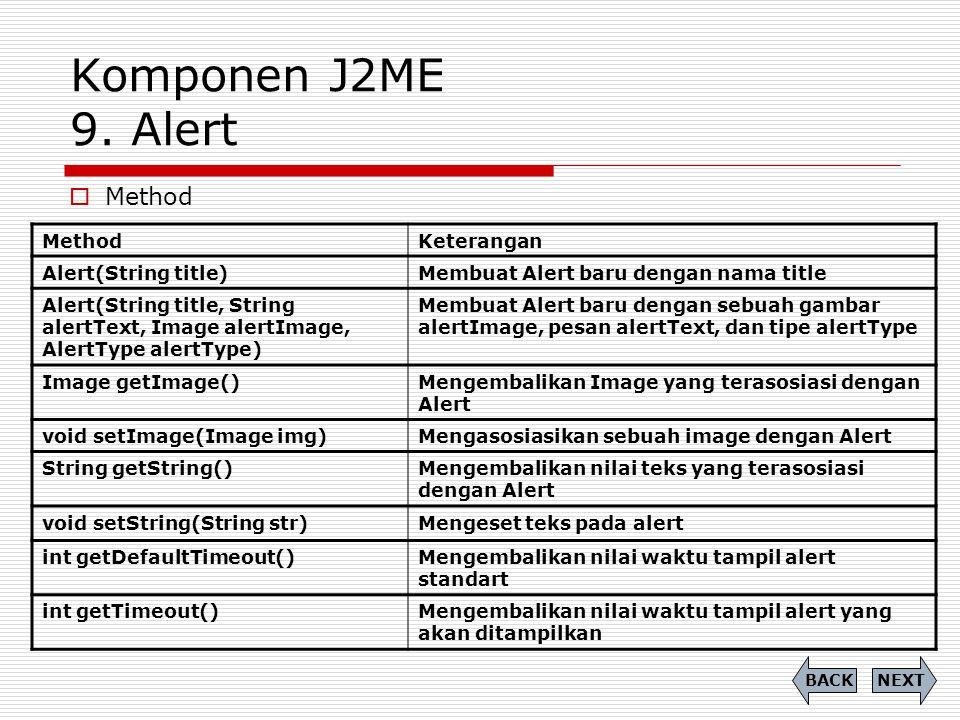 Komponen J2ME 9. Alert  Method NEXTBACK MethodKeterangan Alert(String title)Membuat Alert baru dengan nama title Alert(String title, String alertText