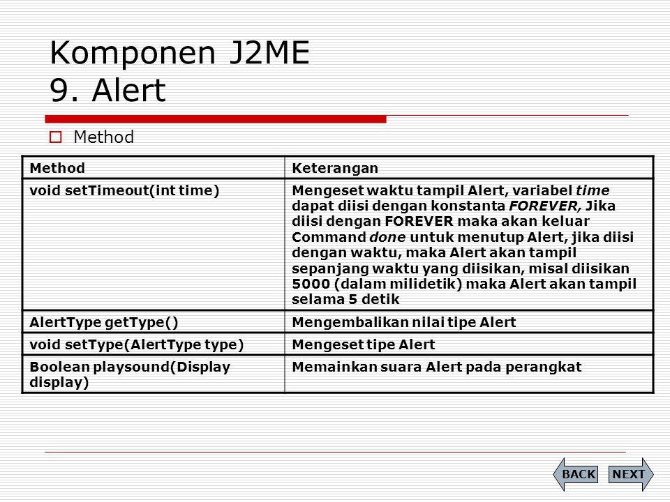 Komponen J2ME 9. Alert  Method NEXTBACK MethodKeterangan void setTimeout(int time)Mengeset waktu tampil Alert, variabel time dapat diisi dengan konst