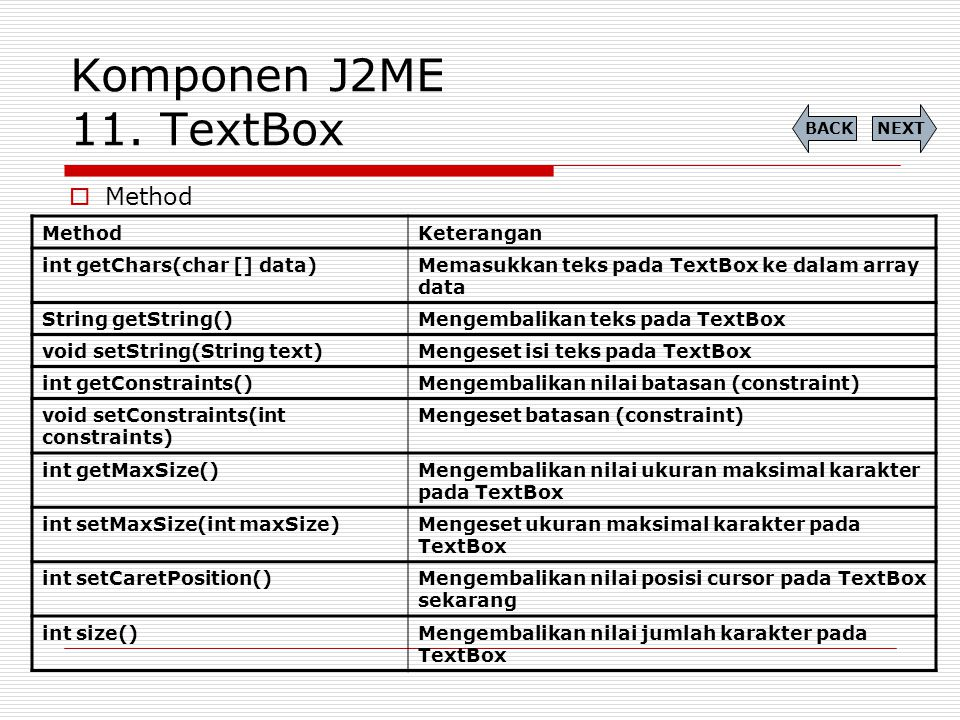 Komponen J2ME 11. TextBox  Method NEXTBACK MethodKeterangan int getChars(char [] data)Memasukkan teks pada TextBox ke dalam array data String getStri