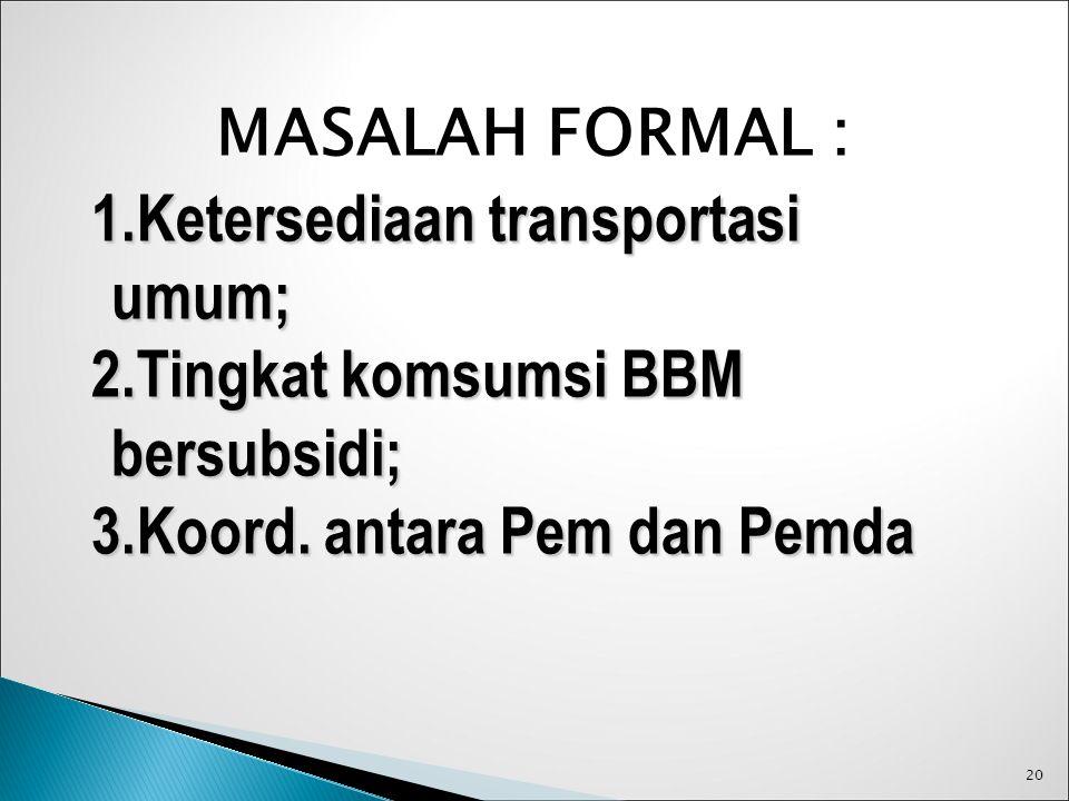 20 MASALAH FORMAL : 1.Ketersediaan transportasi umum; 2.Tingkat komsumsi BBM bersubsidi; 3.Koord. antara Pem dan Pemda