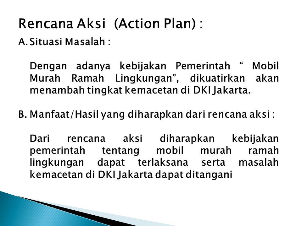 """Rencana Aksi (Action Plan) : A.Situasi Masalah : Dengan adanya kebijakan Pemerintah """" Mobil Murah Ramah Lingkungan"""", dikuatirkan akan menambah tingkat"""