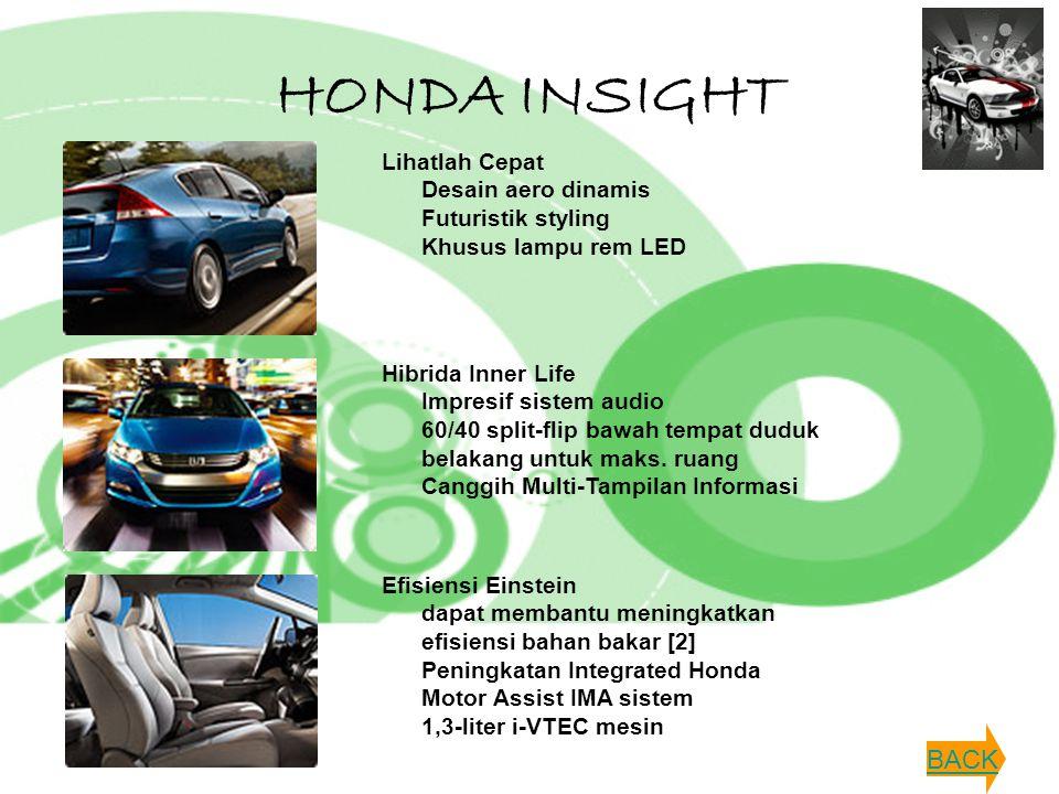 HONDA INSIGHT Lihatlah Cepat Desain aero dinamis Futuristik styling Khusus lampu rem LED Hibrida Inner Life Impresif sistem audio 60/40 split-flip baw