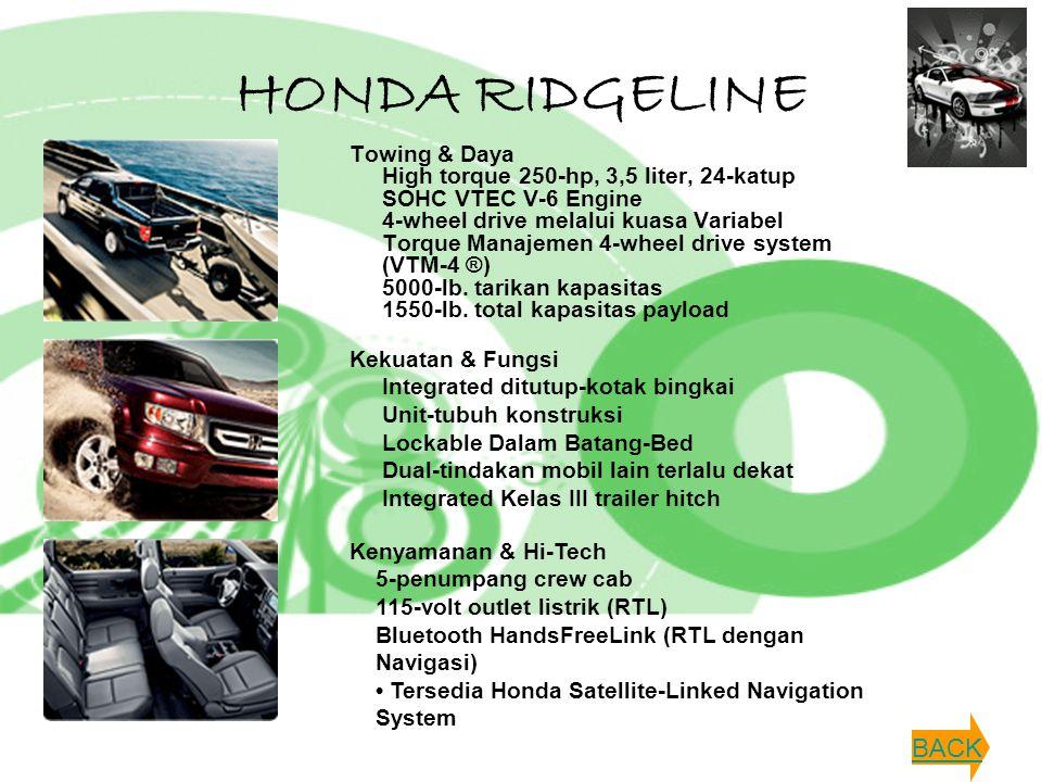 HONDA RIDGELINE Towing & Daya High torque 250-hp, 3,5 liter, 24-katup SOHC VTEC V-6 Engine 4-wheel drive melalui kuasa Variabel Torque Manajemen 4-whe