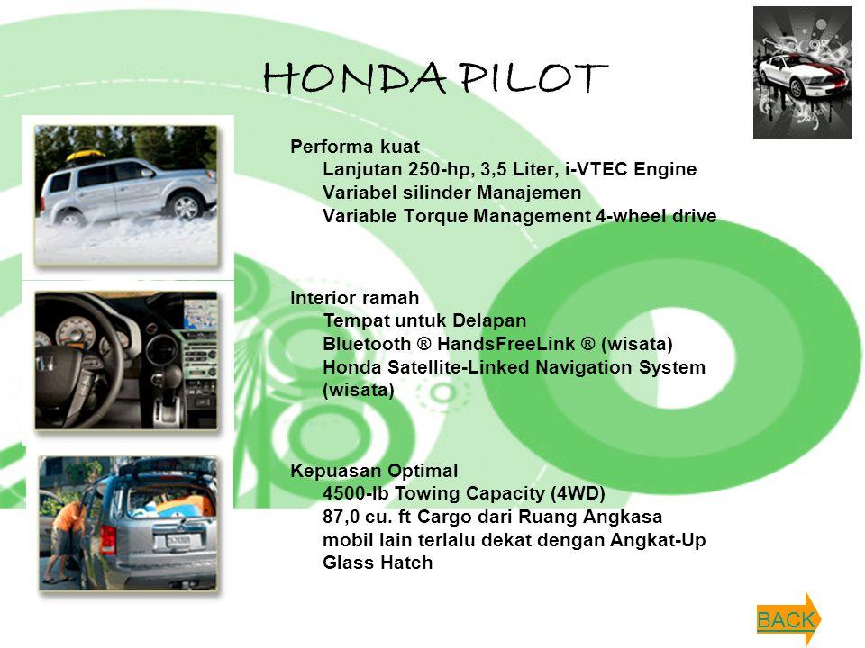 HONDA PILOT Performa kuat Lanjutan 250-hp, 3,5 Liter, i-VTEC Engine Variabel silinder Manajemen Variable Torque Management 4-wheel drive Interior rama