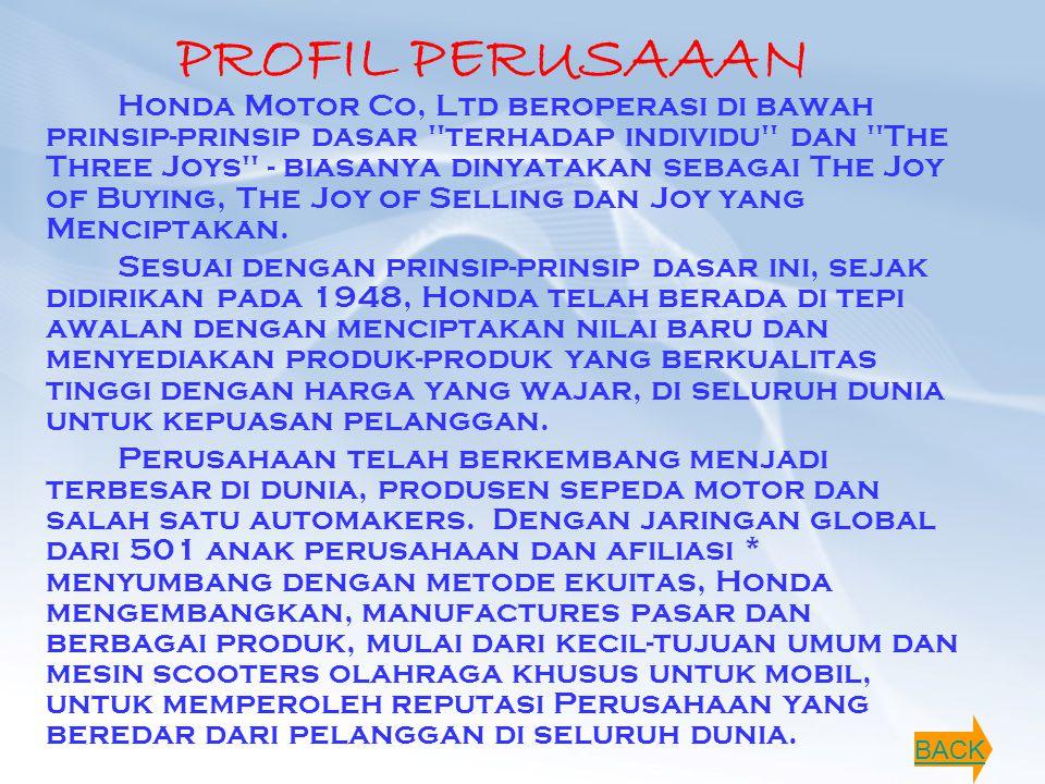 PROFIL PERUSAAAN Honda Motor Co, Ltd beroperasi di bawah prinsip-prinsip dasar