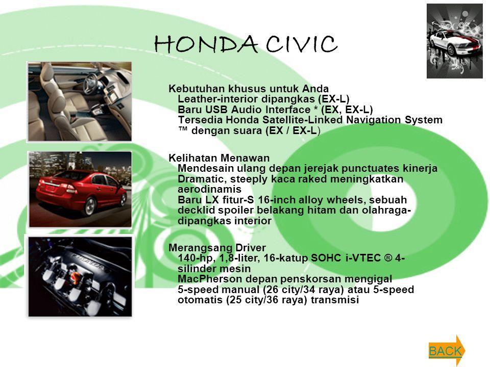 HONDA CIVIC Kebutuhan khusus untuk Anda Leather-interior dipangkas (EX-L) Baru USB Audio Interface * (EX, EX-L) Tersedia Honda Satellite-Linked Naviga