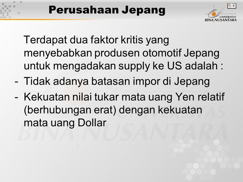 Perusahaan Jepang Terdapat dua faktor kritis yang menyebabkan produsen otomotif Jepang untuk mengadakan supply ke US adalah : -Tidak adanya batasan im
