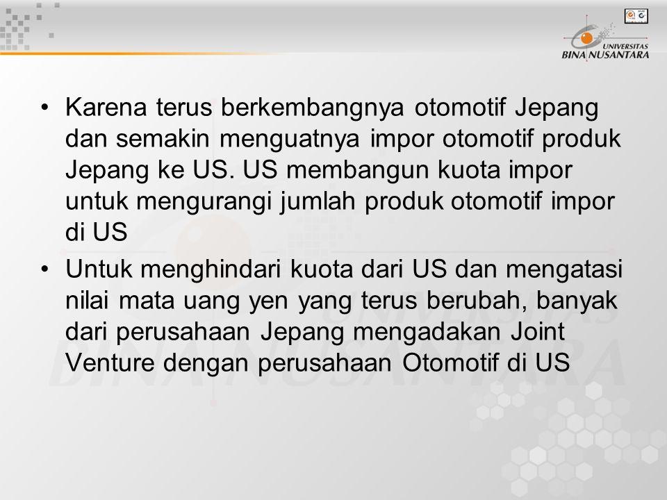 Karena terus berkembangnya otomotif Jepang dan semakin menguatnya impor otomotif produk Jepang ke US. US membangun kuota impor untuk mengurangi jumlah