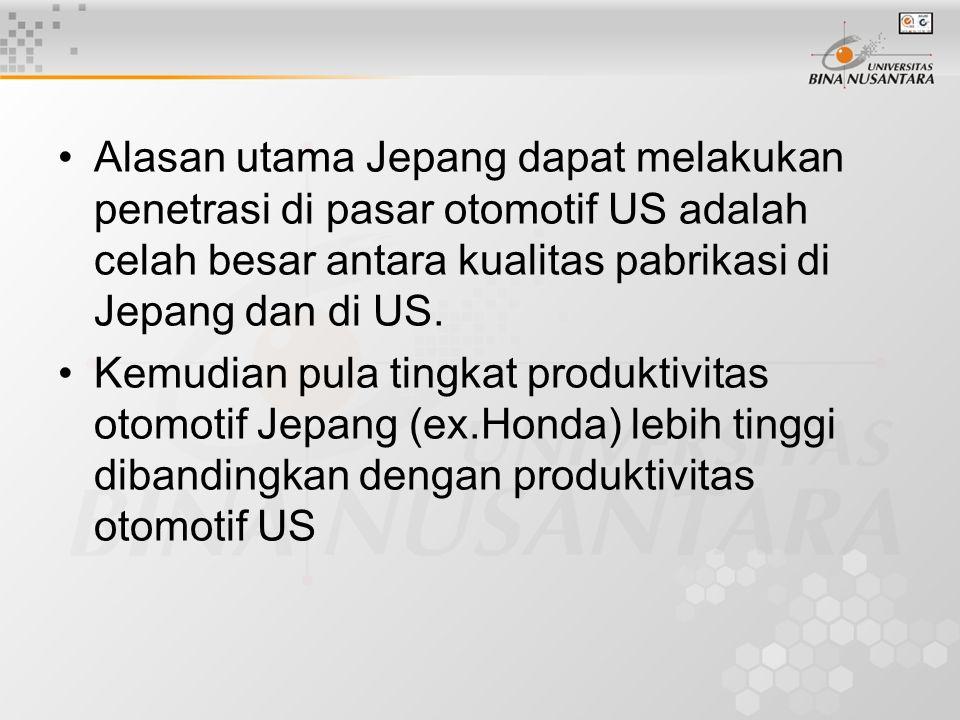 Alasan utama Jepang dapat melakukan penetrasi di pasar otomotif US adalah celah besar antara kualitas pabrikasi di Jepang dan di US. Kemudian pula tin