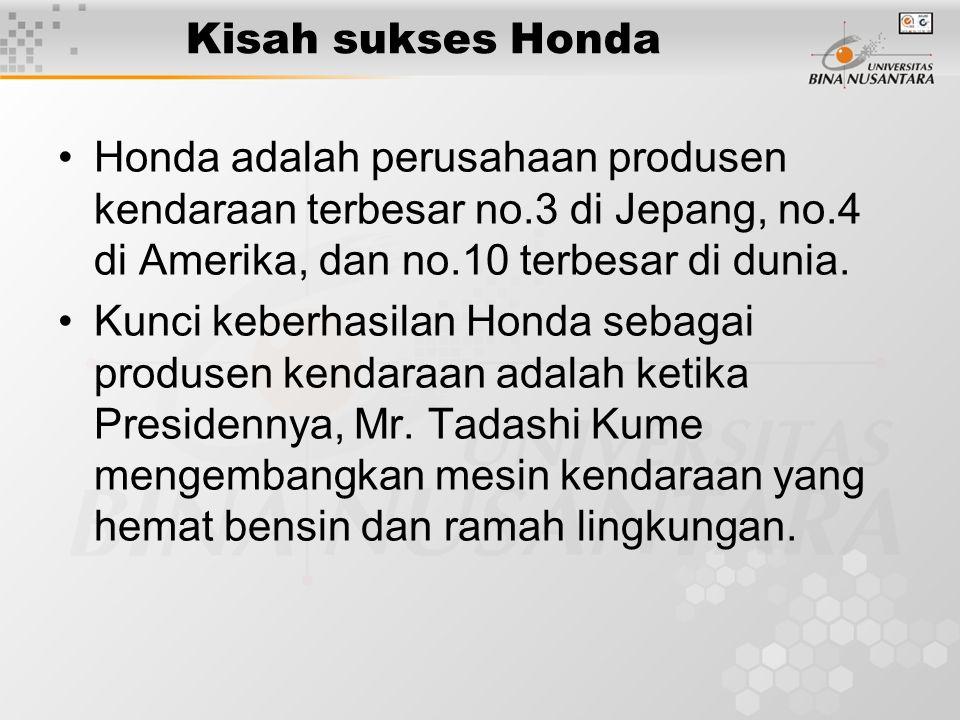 Kisah sukses Honda Honda adalah perusahaan produsen kendaraan terbesar no.3 di Jepang, no.4 di Amerika, dan no.10 terbesar di dunia. Kunci keberhasila