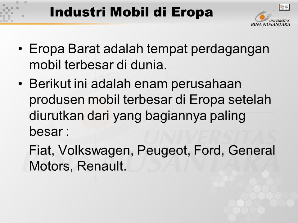 Industri Mobil di Eropa Akan tetapi perusahaan pembuat mobil di Eropa harus bekerja lebih keras untuk menghadapi perusahaan sejenis dari Jepang.