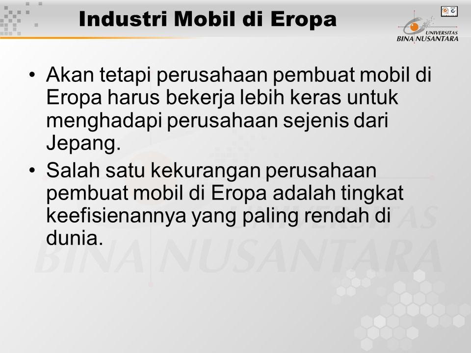 Industri Mobil di Eropa Akan tetapi perusahaan pembuat mobil di Eropa harus bekerja lebih keras untuk menghadapi perusahaan sejenis dari Jepang. Salah