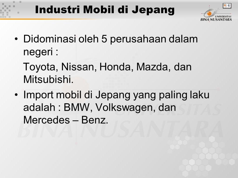 Industri Mobil di Jepang Didominasi oleh 5 perusahaan dalam negeri : Toyota, Nissan, Honda, Mazda, dan Mitsubishi. Import mobil di Jepang yang paling