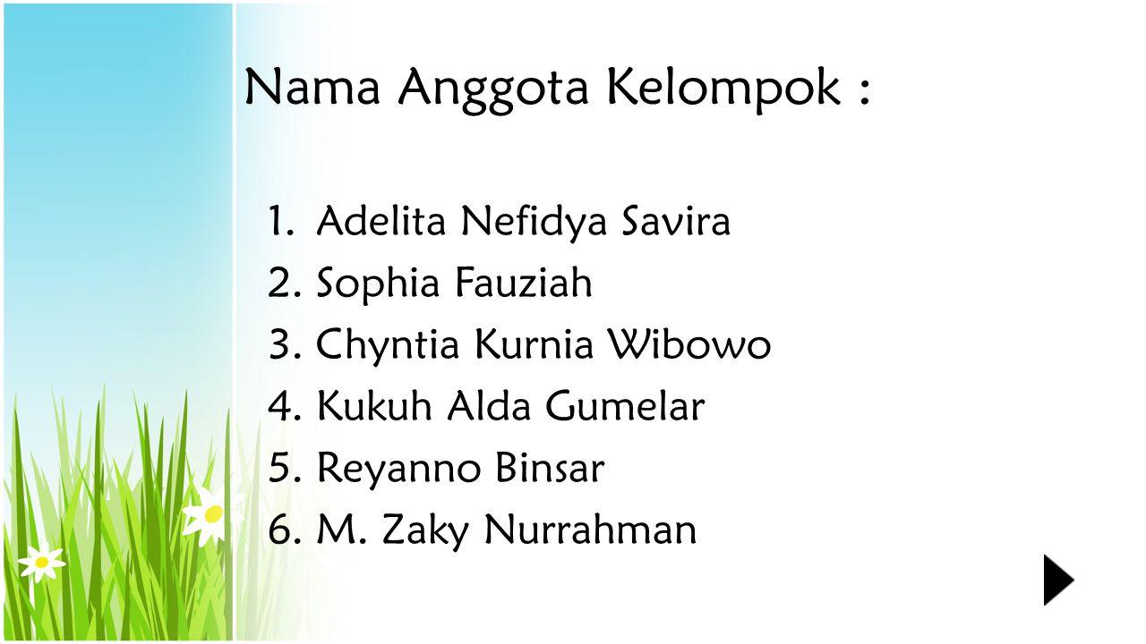 Nama Anggota Kelompok : 1.Adelita Nefidya Savira 2.Sophia Fauziah 3.Chyntia Kurnia Wibowo 4.Kukuh Alda Gumelar 5.Reyanno Binsar 6.M.