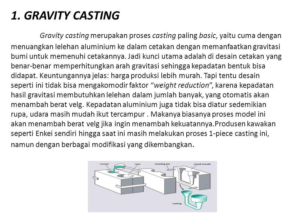 1. GRAVITY CASTING Gravity casting merupakan proses casting paling basic, yaitu cuma dengan menuangkan lelehan aluminium ke dalam cetakan dengan meman