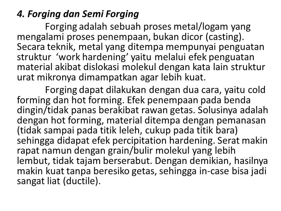 4. Forging dan Semi Forging Forging adalah sebuah proses metal/logam yang mengalami proses penempaan, bukan dicor (casting). Secara teknik, metal yang