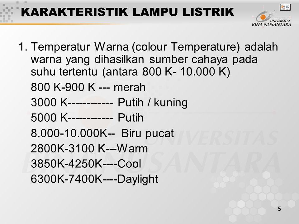5 KARAKTERISTIK LAMPU LISTRIK 1.Temperatur Warna (colour Temperature) adalah warna yang dihasilkan sumber cahaya pada suhu tertentu (antara 800 K- 10.
