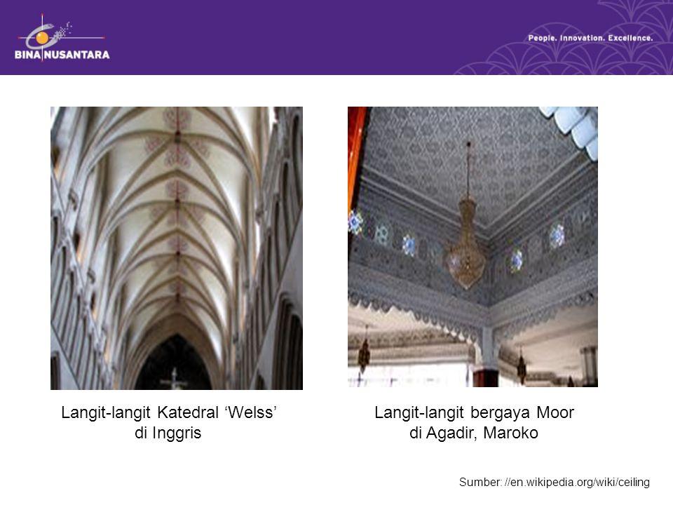 Sumber: //en.wikipedia.org/wiki/ceiling Langit-langit Katedral 'Welss' di Inggris Langit-langit bergaya Moor di Agadir, Maroko