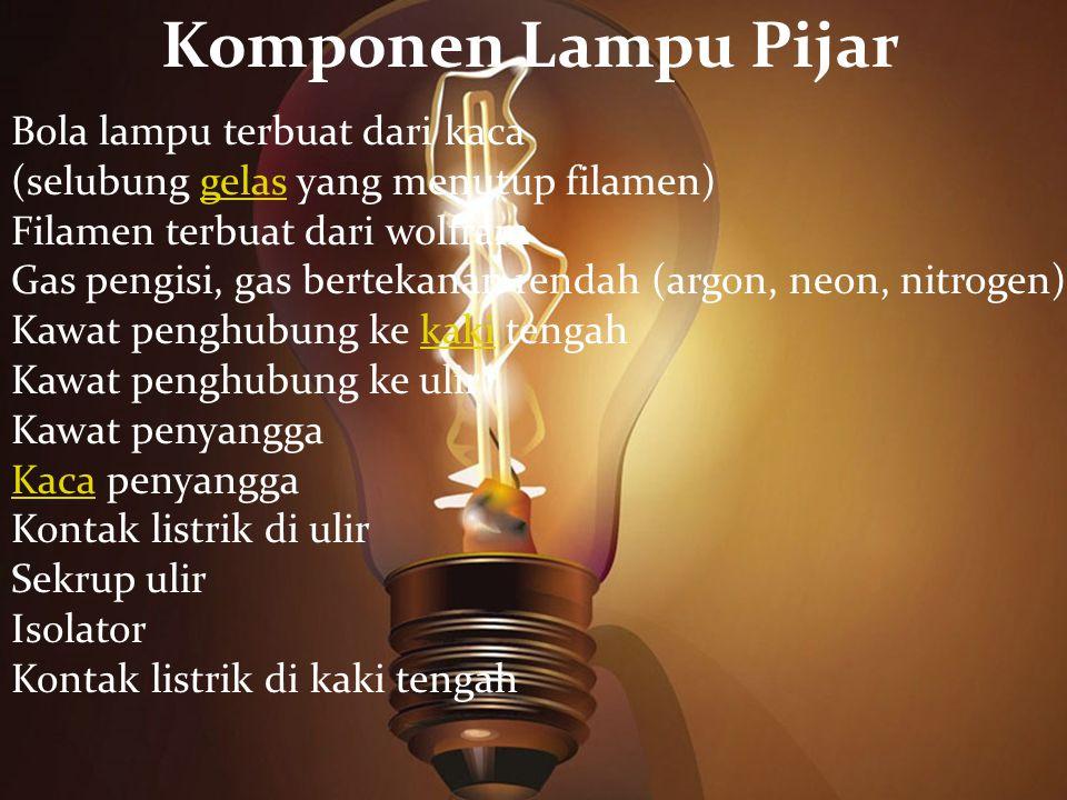 Komponen Lampu Pijar Bola lampu terbuat dari kaca (selubung gelas yang menutup filamen)gelas Filamen terbuat dari wolfram Gas pengisi, gas bertekanan