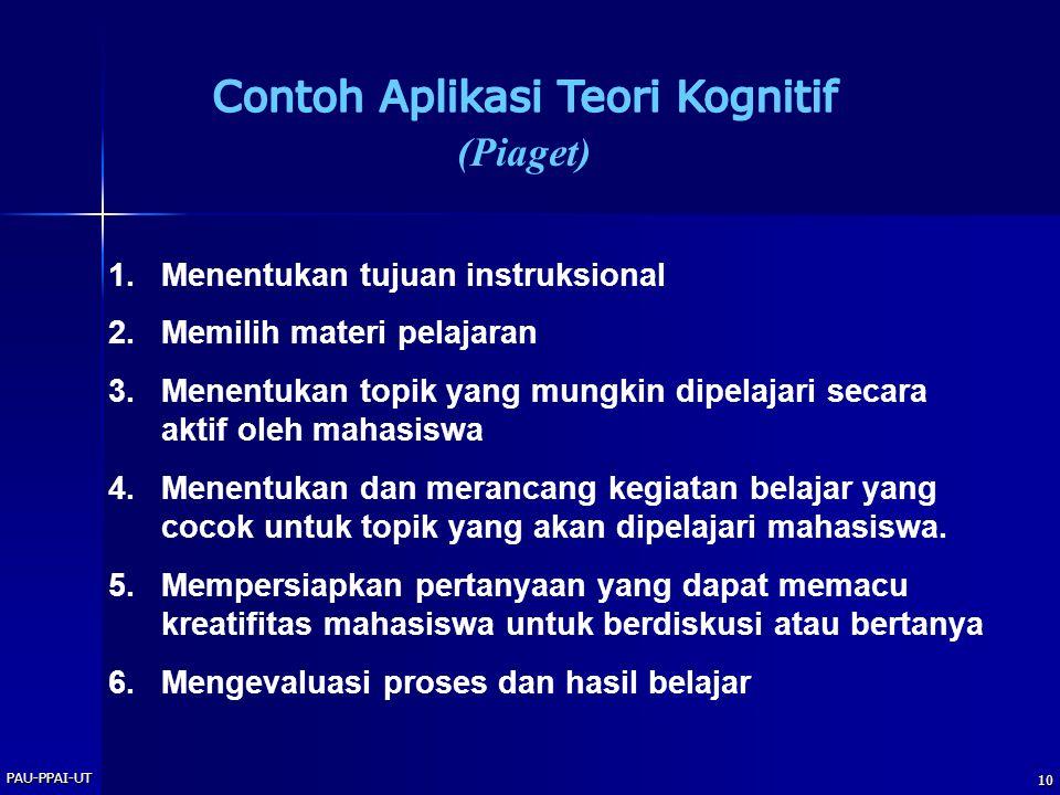 PAU-PPAI-UT 10 1.Menentukan tujuan instruksional 2.Memilih materi pelajaran 3.Menentukan topik yang mungkin dipelajari secara aktif oleh mahasiswa 4.M