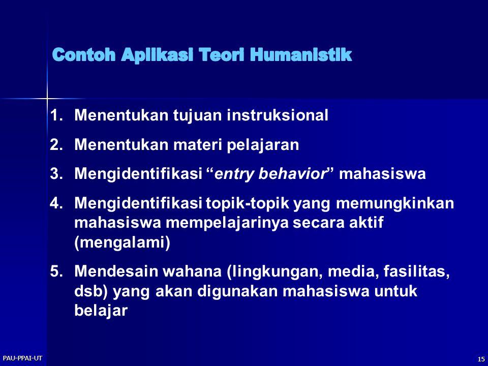 """PAU-PPAI-UT 15 1.Menentukan tujuan instruksional 2.Menentukan materi pelajaran 3.Mengidentifikasi """"entry behavior"""" mahasiswa 4.Mengidentifikasi topik-"""