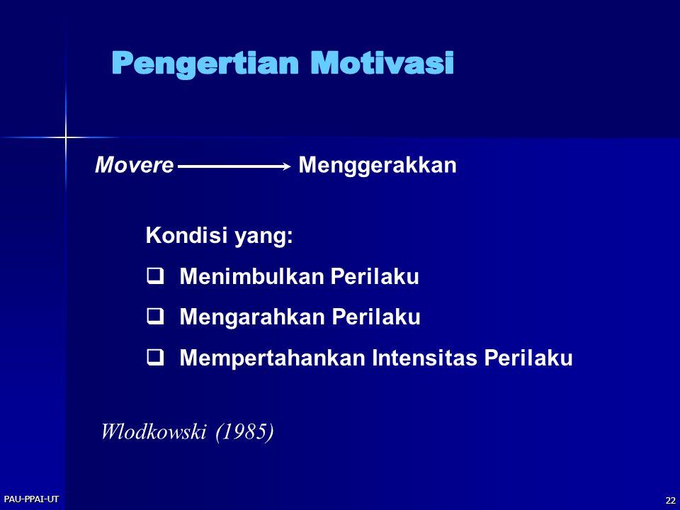 PAU-PPAI-UT 22 Kondisi yang:  Menimbulkan Perilaku  Mengarahkan Perilaku  Mempertahankan Intensitas Perilaku MovereMenggerakkan Wlodkowski (1985)