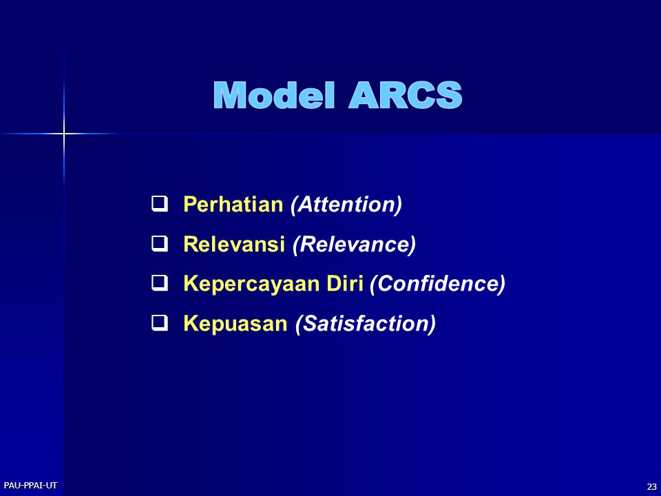 PAU-PPAI-UT 23  Perhatian (Attention)  Relevansi (Relevance)  Kepercayaan Diri (Confidence)  Kepuasan (Satisfaction)