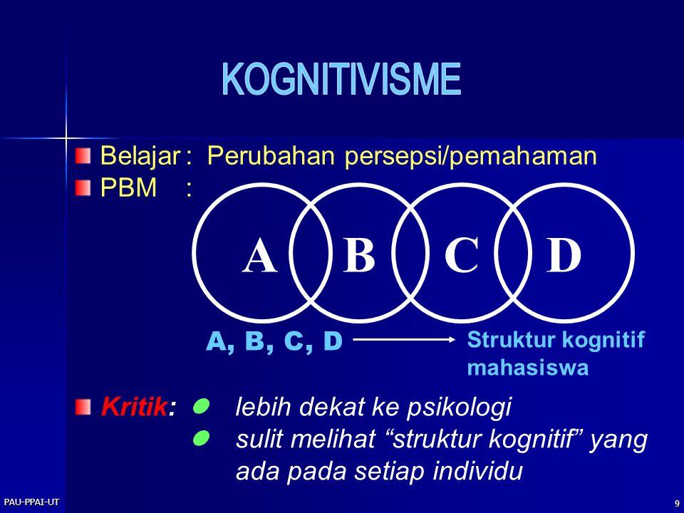"""PAU-PPAI-UT 9 Belajar: Perubahan persepsi/pemahaman PBM: ABCD A, B, C, D Struktur kognitif mahasiswa Kritik: lebih dekat ke psikologi sulit melihat """"s"""