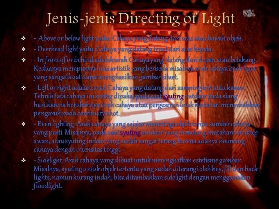  Lighting atau disebut juga Tata Cahaya atau Pencahayaan yang dilakukan dalam proses produksi Film dan atau acara Televisi, penataan cahaya dilakukan