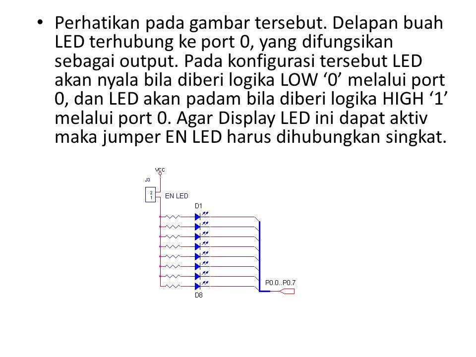 Perhatikan pada gambar tersebut. Delapan buah LED terhubung ke port 0, yang difungsikan sebagai output. Pada konfigurasi tersebut LED akan nyala bila