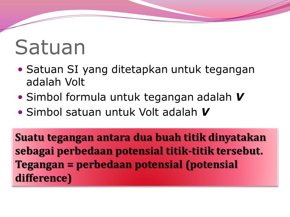 Satuan Satuan SI yang ditetapkan untuk tegangan adalah Volt Simbol formula untuk tegangan adalah V Simbol satuan untuk Volt adalah V Suatu tegangan antara dua buah titik dinyatakan sebagai perbedaan potensial titik-titik tersebut.
