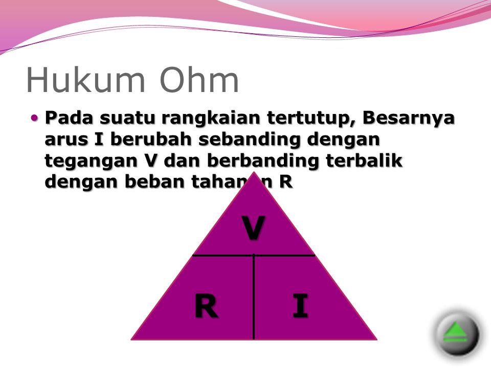 Hukum Ohm Pada suatu rangkaian tertutup, Besarnya arus I berubah sebanding dengan tegangan V dan berbanding terbalik dengan beban tahanan R Pada suatu