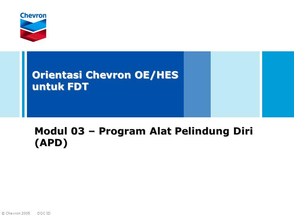 DOC ID © Chevron 2005 2 Tujuan Modul Mempelajari potensi bahaya Pemilihan dan pengunaan APD Pemeliharaan dan penyimpanan APD