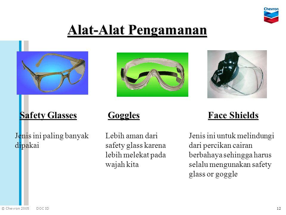 DOC ID © Chevron 2005 12 Alat-Alat Pengamanan Safety GlassesGoggles Lebih aman dari safety glass karena lebih melekat pada wajah kita Face Shields Jen