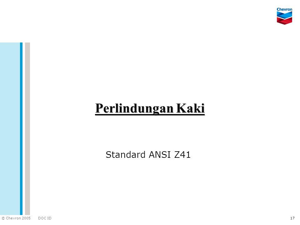 DOC ID © Chevron 2005 17 Perlindungan Kaki Standard ANSI Z41