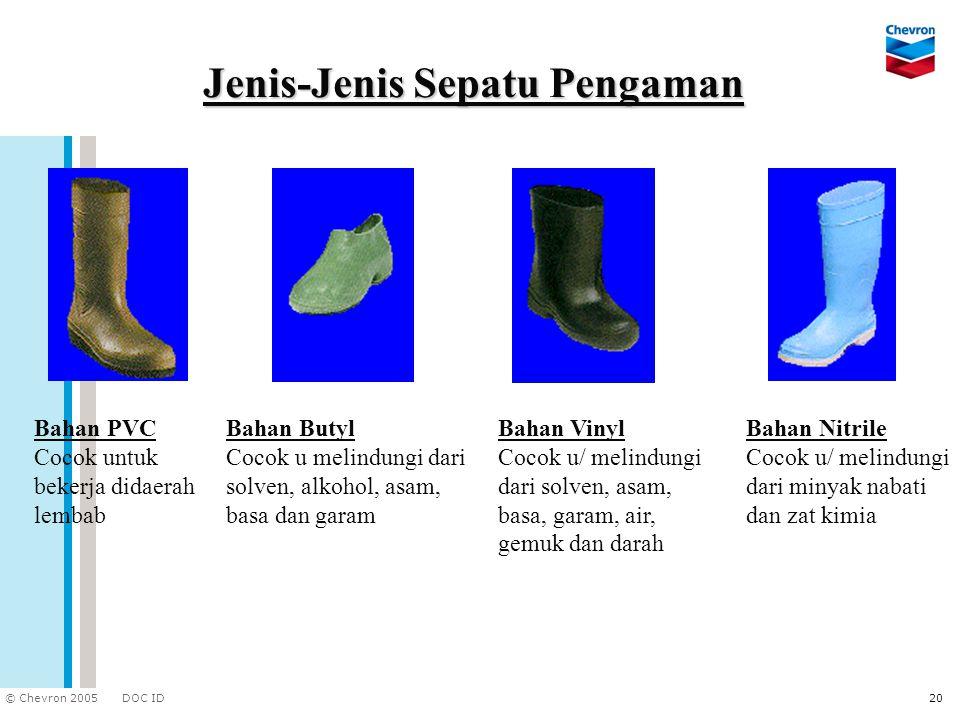 DOC ID © Chevron 2005 20 Jenis-Jenis Sepatu Pengaman Bahan Nitrile Cocok u/ melindungi dari minyak nabati dan zat kimia Bahan PVC Cocok untuk bekerja