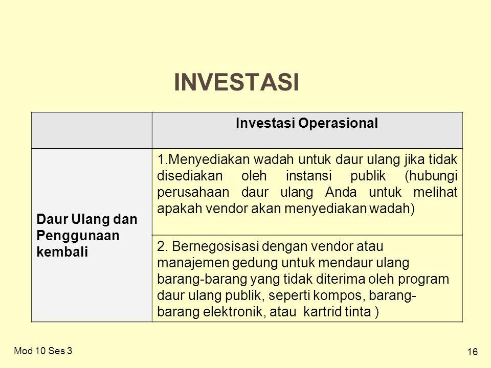16 INVESTASI Mod 10 Ses 3 Investasi Operasional Daur Ulang dan Penggunaan kembali 1.Menyediakan wadah untuk daur ulang jika tidak disediakan oleh instansi publik (hubungi perusahaan daur ulang Anda untuk melihat apakah vendor akan menyediakan wadah) 2.