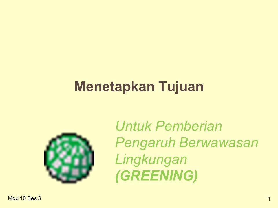 1 Menetapkan Tujuan Untuk Pemberian Pengaruh Berwawasan Lingkungan (GREENING) Mod 10 Ses 3
