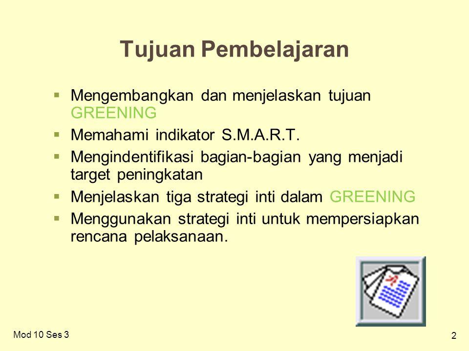 2 Tujuan Pembelajaran  Mengembangkan dan menjelaskan tujuan GREENING  Memahami indikator S.M.A.R.T.