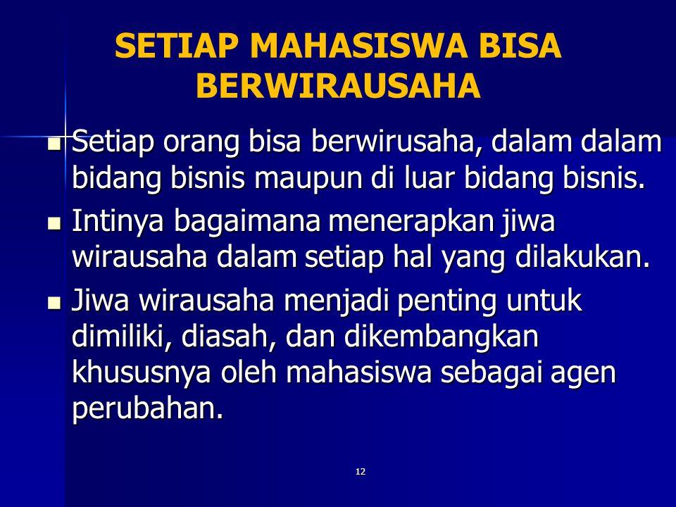 12 SETIAP MAHASISWA BISA BERWIRAUSAHA Setiap orang bisa berwirusaha, dalam dalam bidang bisnis maupun di luar bidang bisnis. Setiap orang bisa berwiru