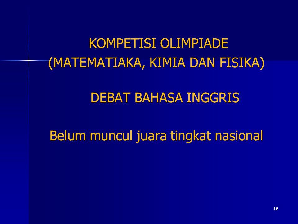 KOMPETISI OLIMPIADE (MATEMATIAKA, KIMIA DAN FISIKA) DEBAT BAHASA INGGRIS Belum muncul juara tingkat nasional 19