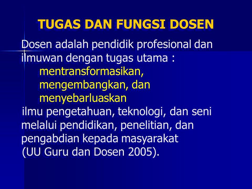 TUGAS DAN FUNGSI DOSEN Dosen adalah pendidik profesional dan ilmuwan dengan tugas utama : mentransformasikan, mengembangkan, dan menyebarluaskan ilmu