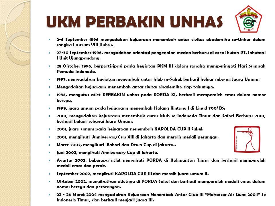 UKM PERBAKIN UNHAS 2-6 September 1996 mengadakan kejuaraan menembak antar civitas akademika se-Unhas dalam rangka Lustrum VIII Unhas. 27-30 September