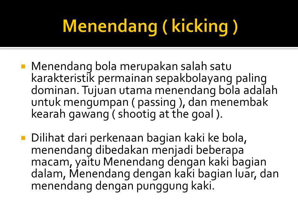  Menendang bola merupakan salah satu karakteristik permainan sepakbolayang paling dominan. Tujuan utama menendang bola adalah untuk mengumpan ( passi